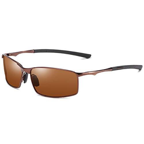 DEER HOUSE Polarisierte Sonnenbrille für Herren, modisch, rechteckig, UV400, Metall, verspiegelt, Sonnenbrille Gr. Einheitsgröße, Tee