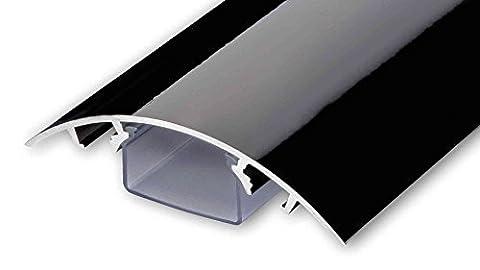 TV Design Aluminium Kabelkanal in schwarz Hochglanz lackiert in verschiedenen Längen von ALUNOVO (Länge: (Kabelkanal Für Tv)