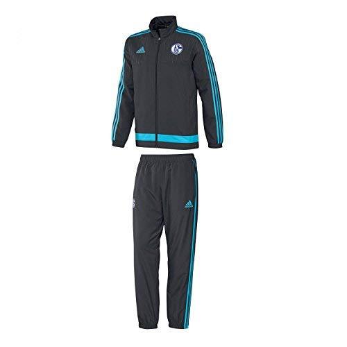 adidas Herren Trainingsanzug Anzug FC Schalke 04 Presentation ntgrey/Supcya, XS