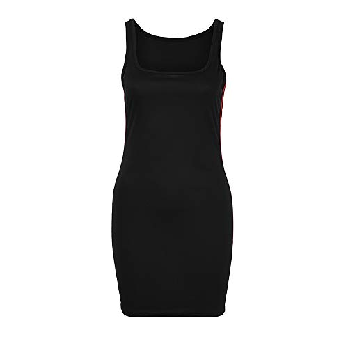 en Sommer Cool Gestreiften Oansatz Sleeveless Bodycon Kleid Casual Mini Strand Sexy Kleid ()