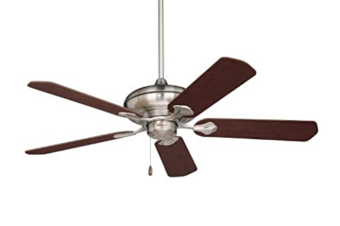 Emerson CF770BS Monterey Indoor Ceiling Fan, 52-Inch Blade Span, Brushed Steel Finish and Dark Cherry/Mahogany Blades by Emerson
