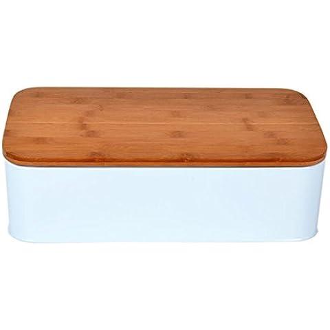 ODELO Panera Caja para pan de acero con tabla para cortar, disponible en tres colores negro, blanco, ecru (blanco)