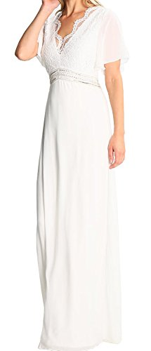 ShineGown Ivory Lace Top With Chiffon Sheath Dress Double V-Neck Half Sleeves For Bridesmaid Formal Evening Prom Party
