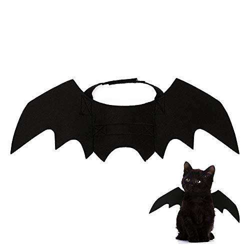 MOGOI Haustier Fledermausflügel, Cooles Design Schwarze Fledermaus Flügel Halloween Kostüm Kleidung für Kleine/mittelgroße Katze Kitty Hund Welpe Cosplay Festival Party Dekoration