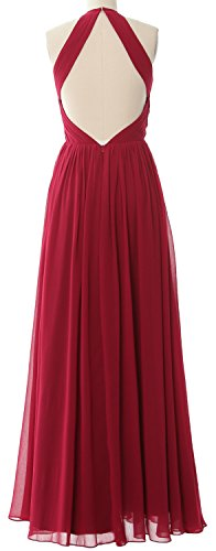 MACLoth Women Halter Long Bridesmaid Dress Chiffon Formal Gown with Open Back Grau