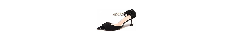 KPHY Pretty/Zapatos de Mujer/El Verano De Gamuza Y Diamante Sexy Fashion 100 Velcro Temperamento Gato Y Sandalias.Treinta... -