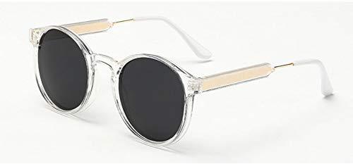 Sonnenbrille Jahrgang Frauen Runde Sonnenbrille Designer Männer Schlüsselloch Dicke Frame Sonnenbrillen Weiblichen Sonnenbrille Uv400 Transparent-Rahmen, Schwarz