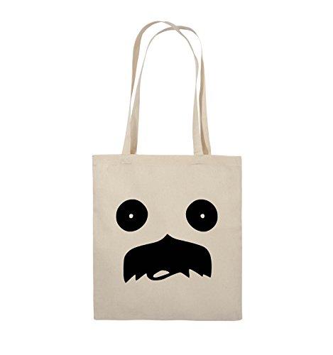 Comedy Bags - GESICHT SCHNURRBART - COMIC - Jutebeutel - lange Henkel - 38x42cm - Farbe: Schwarz / Silber Natural / Schwarz