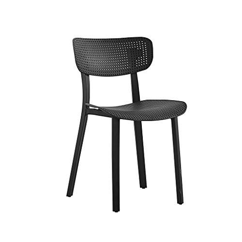 CAO-LIFE Dining Plastic Chairs Lounge Sessel Büromöbel Freizeit Home Dining Chair Hohl Außenaufnahme Büro Salon Stuhl (Farbe : Schwarz) -