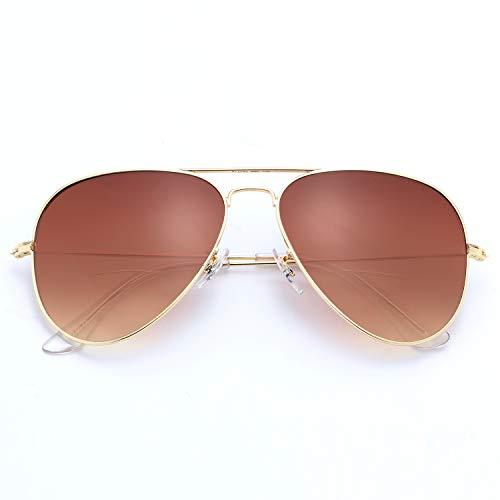LianSan Bifokal-Sonnenbrille für Herren und Damen, 70er / 80er Jahre, Retro- und Flieger-Stil, UV400-Linse L8022, Gold