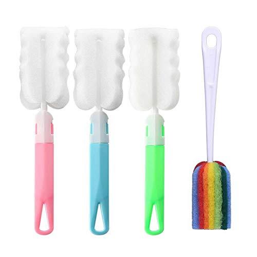Dusenly 4pcs Flaschenbürsten-Reiniger-Schwamm-Schalen-Bürsten mit langem Handgriff-Küchen-Peeling für Baby-Flaschen-Kaffee-Tee-Glasschalen-waschende Reinigungs-Werkzeuge
