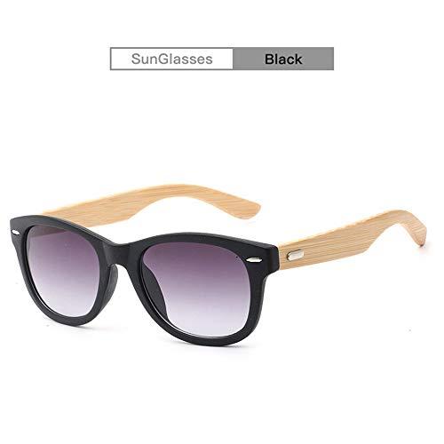 Yiph-Sunglass Sonnenbrillen Mode Handgefertigte Bambus Bambusbeine Sonnenbrille Holzmaserung Männer Männer mit der gleichen Art von UV400 Sonnenbrillen für Unisex (Color : Black)