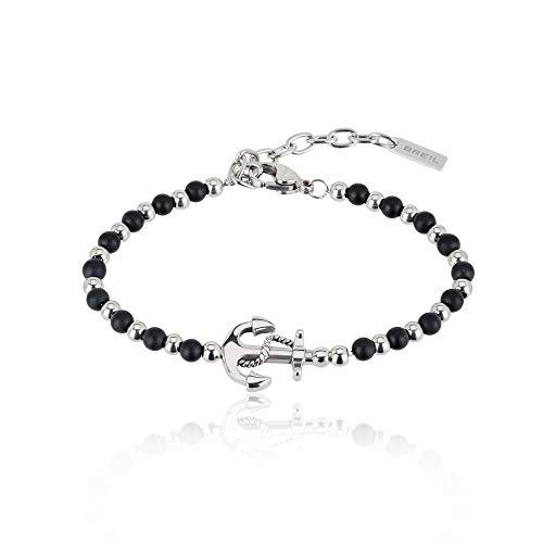Gioiello breil collezione black onyx, bracciale da uomo in acciaio, pietre naturali colore altro misura 22,5cm con con pietre - tj2407