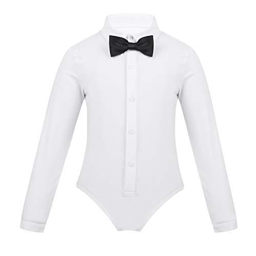 Freebily Kinder Jungen Hemdbody Bodysuit Tanz Anzug Body Hemd Gentleman Einteiler Langarm Smoking Strampler Latin Dancewear mit Revers Krawatte Weiss 140/10Jahre (Kleinkind, Hemden Und Krawatten)