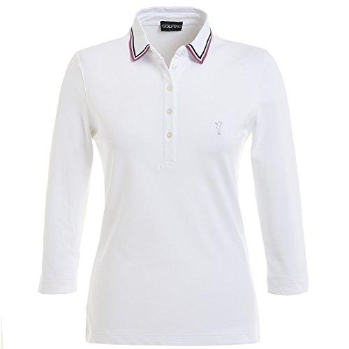 3-4-golfino-comodidad-seca-manga-ladies-golf-polo-blanco-color-blanco-blanco-tamano-10-s