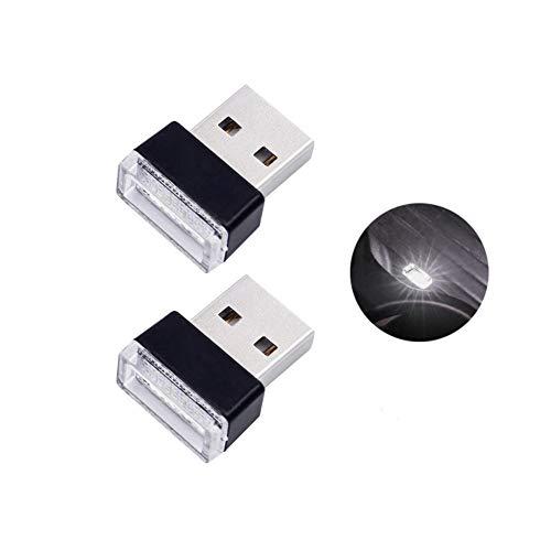 Bello Luna 2 Stücke Mini USB Licht Auto Innenraum Umgebungslampe für Auto Notebook Power Bank - Weiß - Mini 2 Licht