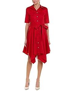 Badgley Mischka Crimson Red Handkerchief Hem Shortsleeve Dress