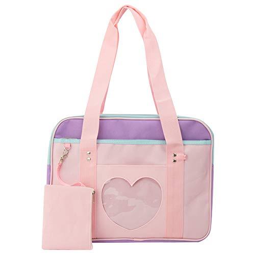 Fenster Japanische Schule Handtasche Große JK Tasche Mädchen Duffle Geldbörse Anime Schule Schulranzen für Lolita Comic DIY Cosplay Rosa/Lila ()