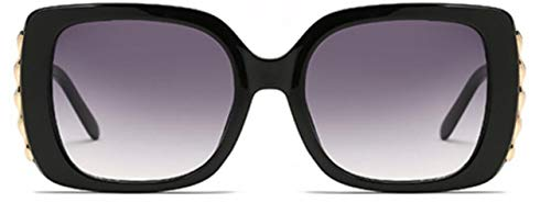HUWAIYUNDONG Sonnenbrillen, Square Sunglasses Design Fashion Big Frame Glasses Female Black Grey