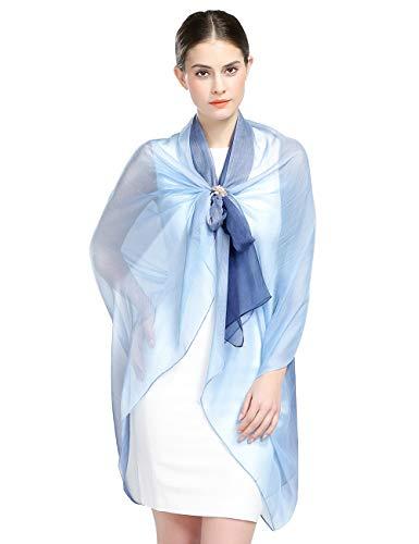 Sciarpa 100% seta per donna colore sfumato, scialle di eleganti ed moda 150 * 180cm dona alla signora un regalo molto buono