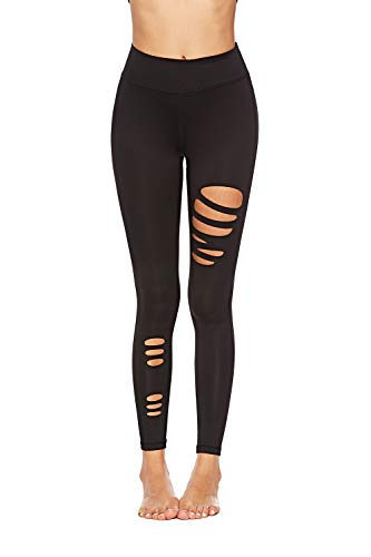 SOUTEAM Damen Teens Ripped Leggings Hohe Taille Pocket Cut Out Stretch Active Tight Pants XL Schwarz 02