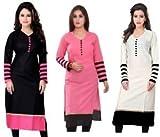 Kesari King Women's Cotton Combo Of 3 Kurti(Multicolor_Free Size)