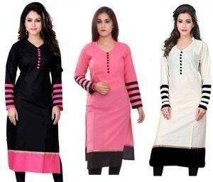 Kesari King Women\'s Cotton Combo Of 3 Kurti(Multicolor_Free Size)