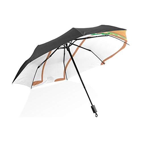 Übergroßen Regenschirm Happy Fast Food Sandwich Cartoon Tragbare Kompakte Taschenschirm Anti Uv Schutz Winddicht Outdoor Reise Frauen Kinder Regenschirme Für Regen Mädchen Fast-food-sandwiches