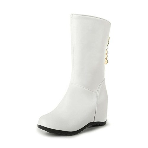 ZQ@QXIn autunno e in inverno, testa rotonda wild studenti del college, il set di piedini Cilindretto corto Stivali Stivali femmina White
