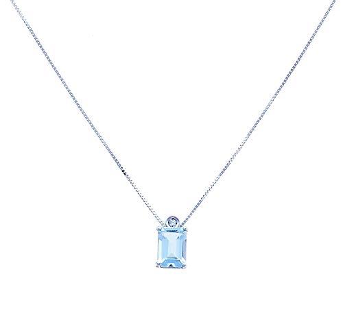 Anelie Gioielli - Collana Acquamarina Oro Bianco 18 carati 45cm - Acquamarina Ciondolo Diamante Oro Bianco 750 , PA160-A