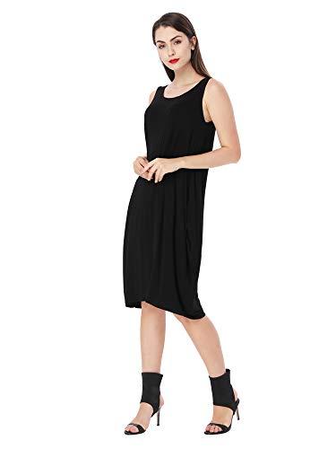 Modal Tank Kleid Lose Tank Kleid Casual T-Shirt Kleider (Schwarz, XXL) -