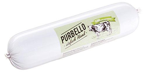 PURBELLO Hundewurst Rind - 8 x 800 g - Monoprotein Hundefutter mit hohem Fleischanteil - Nassfutter für Hunde - Schnittfest & Getreidefrei (6,4 kg)