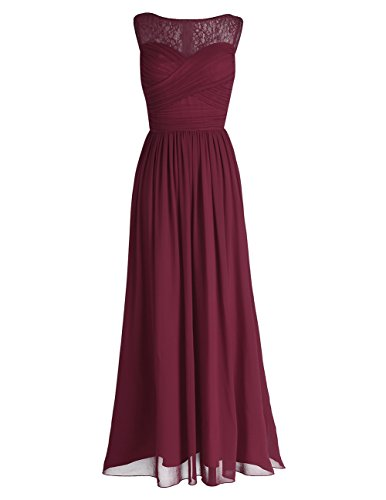 iEFiEL Damen Abendkleider elegant Hochzeitskleid Cocktailkleid Chiffon Festlich Festkleid Langes Brautjungfernkleid 34-46 Weinrot 42(Herstellergröße: 12)