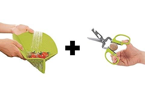 Ambrosya® | Faltbares Schneidebrett mit integriertem Sieb + Schere | Antibakteriell Dosenöffner Flaschenöffner Koch Küche Küchenschere Messer Set | Geschenk Geschenkidee (Schneidebrett + Schere, Grün)