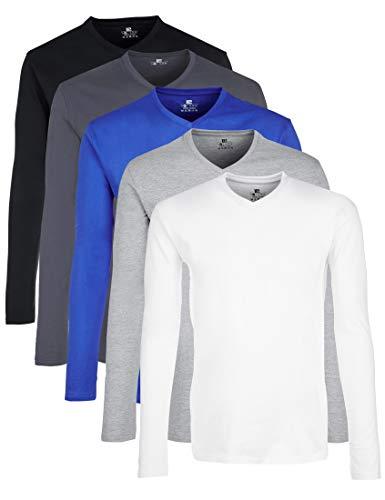 Lower East LE158 Langarmshirt, Mehrfarbig(Weiß GreyWeiß/Schwarz/Olympia Blau/Hellgrau Melange/Folkstone Grey), XX-Large, 5er-Pack -