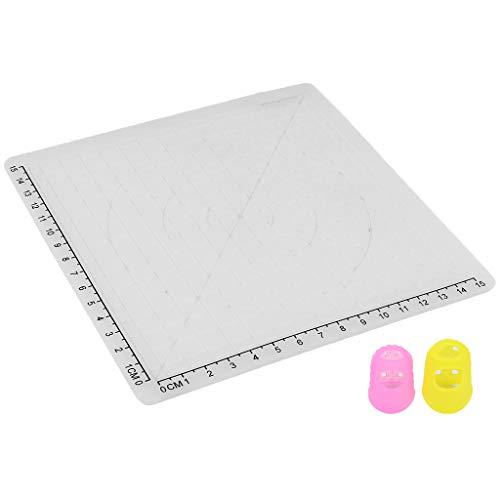 P Prettyia Silikonmatte mit Fingerschutz Abdeckungen für 3D-Druckstift Zeichnung und Design - Typ B Weiß
