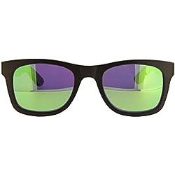 Gafa de sol Greenblue de Madera de Bambú 100% Eco con cristal polarizado en color verde y azul para chico y chica y unisex en madera oscura