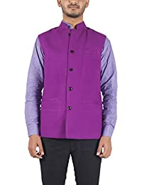Bihar Khadi (A Bihar Govt. Enterprise) Men's Cotton Nehru Jacket (Purple, 38)