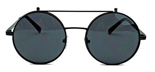 Retro Sonnenbrille oversized Lennon Flip up Style Herren Damen Metallrahmen klappbare Gläser NG (Schwarz/Smoke)