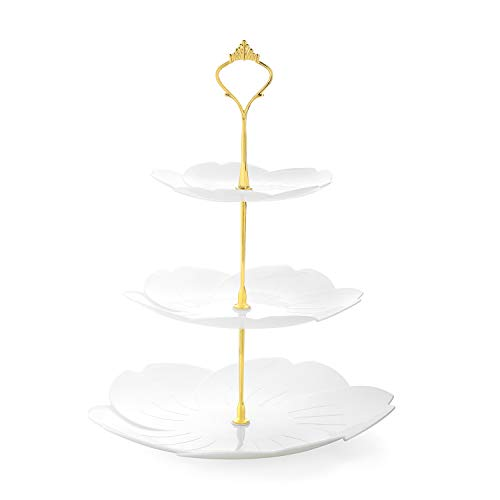Nuovoware 3-Tier Cupcake Stand, Desserts Candy Buffet Snack Cookies Fruit Cake Plastic Plate Stand Serving Tray Food Display Stand for Wedding Home Birthday Tea Party, Cherry Blossom, White