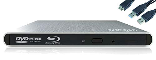 Archgon Style Externer HD BD Player, Blu-ray BDXL Brenner extern für PC Laptop USB 3.0, M-Disc, externes BluRay Laufwerk, External Optical BlueRay Drive extern, Alu Silber