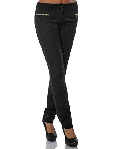 Damen Hose Business Stoffhose Straight Leg (Gerades Bein) No 15748, Farbe:Schwarz, Größe:M / 38 (Hose-hosen Leg Straight)