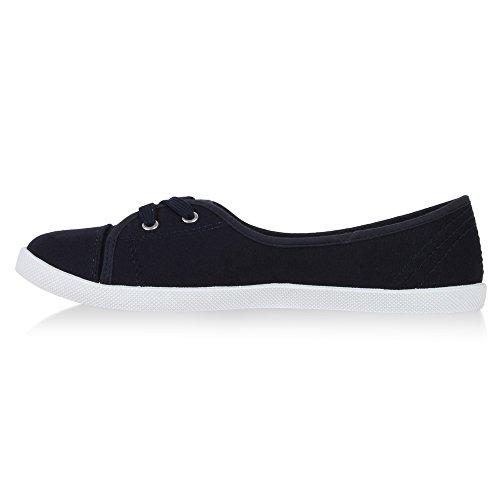 Sportliche Damen Ballerinas   Bequeme Basic Schuhe   Stoff Flats aus angenehmen Obermaterial   Gr. 36-41 Dunkelblau JLdMm