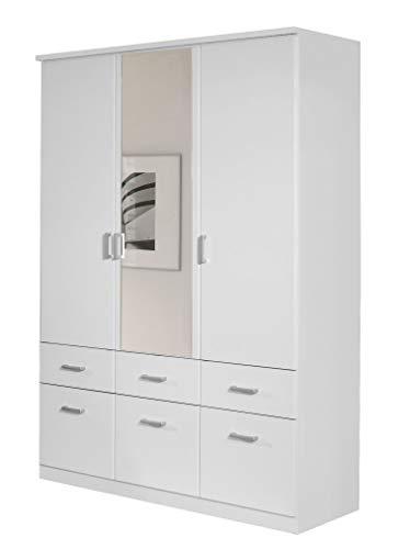 Rauch Kleiderschrank 3-türig Weiß Alpin mit Spiegel, BxHxT 136x199x56 cm