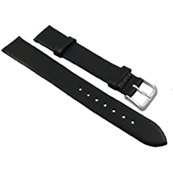 16mm Soft calf leather watch strap band in black with buckle in silver