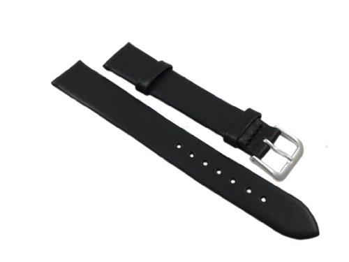 14 Schwarz Leder (14mm Weiches Kalbsleder Uhrenarmband Schwarz Silberfarbende Dornschließe inkl. Myledershop Montageanleitung)
