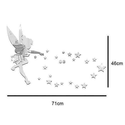 ndaufkleber Acryl Spiegel abnehmbar Umweltschutz Wasserdicht Selbstklebend Fairy Star 71 cm ()