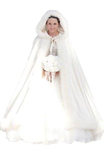 MicBridal® Elfenbein Warm Winter Pelz Lang Braut Mantel Bolero Umhang Brautstola Schal Stola für Brautkleid Hochzeitskleid Elfenbein