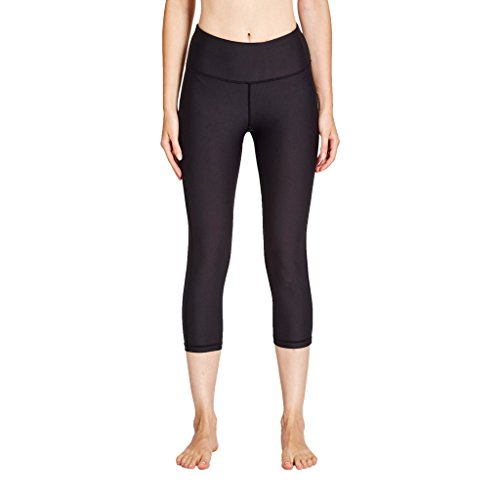 COOLOMG Damen Yoga Capriss 3/4 Hosen Kompression Leggings Sport Trainingshose Schwarz M