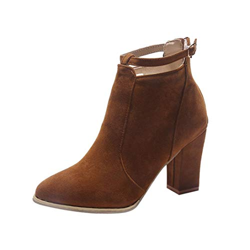 ff1d10b3763 DAYSEVENTH Clearance Ladies Flcok Ponited Toe Boots Ankle Boots High Cone  Heels Zip Strap Martin Shoes